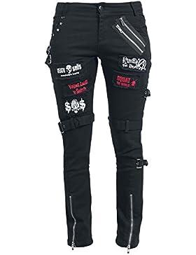 KuroNeko Pantalón Punk Pantalones Mujer Negro