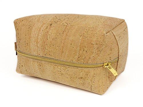 SIMARU Kulturbeutel / Kosmetiktasche aus Kork bzw. Korkleder ideal für Frauen & Männer, Kulturtasche in vielen Farben (beige)