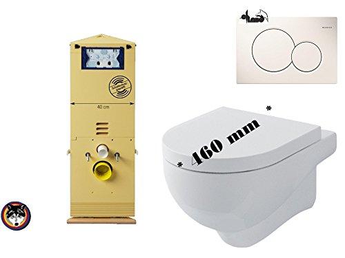Preisvergleich Produktbild Wand WC Eck Set Grumbach Eckelement 98 cm + Nuvola MINI WC Ausladung 46 cm