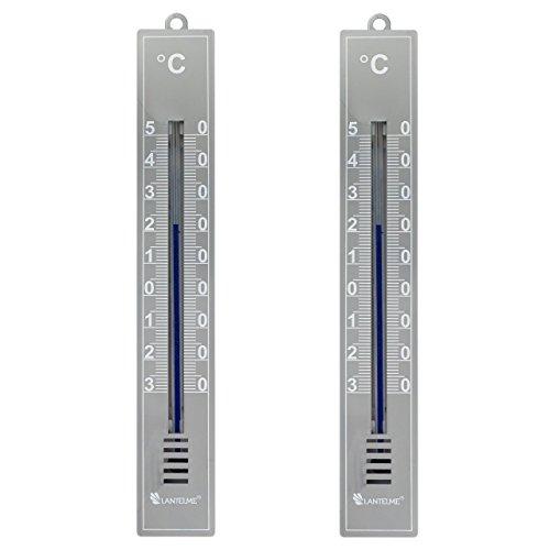 Lantelme 6089 Analogthermometer in Kunststoffgehäuse Farbe grau - 2 Stück Set - Thermometer für Innen oder Außen mit Temperaturanzeige -30 bis +50 Grad Celsius