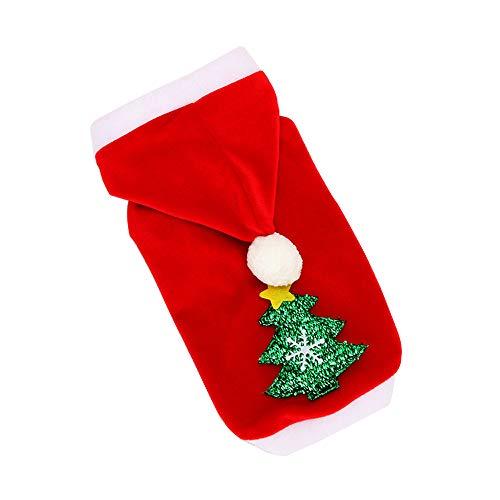 Weihnachtsbaum Muster Kostüm - OHQ_Haustierkleidung OHQ Weihnachtsmann-Kostüm mit Merry Christmas und Weihnachtsbaum-Muster Baumwollkleidung Kapuzenpullover für Katze/Hund