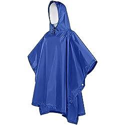 SunJas Chubasquero Poncho de lluvia 3-en-1 Impermeable Sombrilla Multifuncional Capucha Ultra Portátil Camping de Montaña al Aire Libre PU3000m Adecuado para La Mochila Menos 80L Unisex-Color Azul