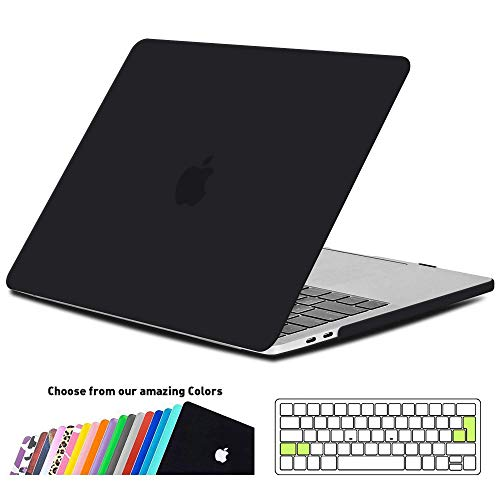 iNeseon MacBook Pro 13 Hülle Case 2018/2017/2016, Hartschale Cover mit EU Transparent Tastaturschutz Schutzhülle für MacBook Pro 13 Zoll mit/ohne Touch Bar Modell A1989/A1706/A1708, Schwarz (Macbook Apple Pro 13inch Fall)