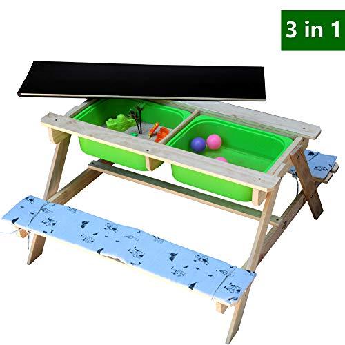 Jolitac 3 in 1 Kinder Picknicktisch Sand und Wasser Spieltisch Maltafel Kindersitzgruppe Gartentisch Sitzgarnitur Holz Kindertisch 2 Bänke 1 Tisch mit Polsterauflage - Sand-holz-möbel