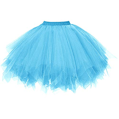 Blau Kostüm Tutu - DresseverBrand Damen Petticoat 50er Rockabilly Jahre Retro Tutu Ballet Tüllrock Cosplay Crinoline Blau Large/X-Large