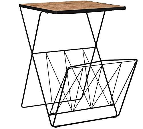 Kersten Retro Beistelltisch mit Magazinhalter | Tisch Abstelltisch Metall Couchtisch Holz (H:60cm) (Hell)