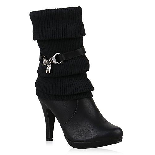 Klassische Stiefeletten Damen Stulpen Strass Stiefel Schuhe 121734 Schwarz Anhänger 37 Flandell