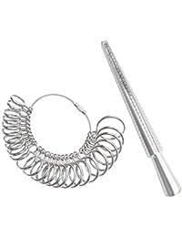 DoGeek Ringstock Metall Ringmaß Ringmesser Kostenlos Ringdorn Set/UK, EU, USA und Switzerland