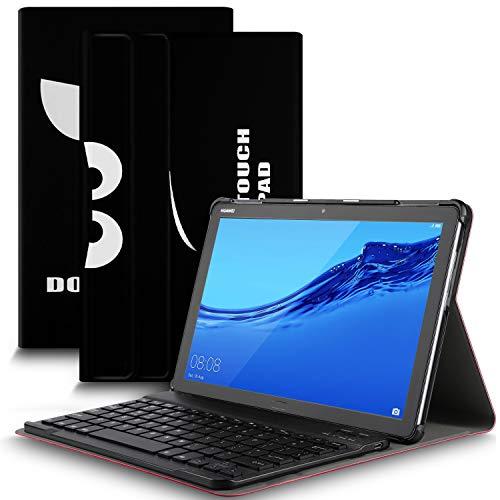 IVSO Tastatur Hülle für Huawei MediaPad M5 Lite 10, [QWERTZ Deutsches], Ultradünn Ständer Schutzhülle mit magnetisch abnehmbar Wireless Tastatur für Huawei MediaPad M5 Lite 10.1 Zoll 2018, Soot Eye