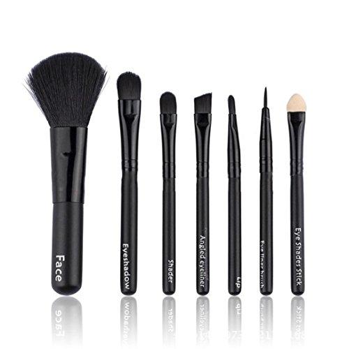 Fulltime® 7pcs / set Pinceaux teint poudre fard à paupières Eyeliner Lip Brush Set cosmétique (Noir)