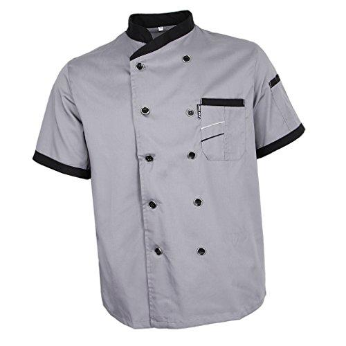 Baoblaze Kurzarm Arbeiterjacke Bäckerjacke Kochjacke mit Stehkragen Küche Uniform Gastronomie Gsatro Berufsbekleidung - Grau, L