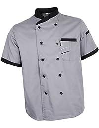 FITYLE Chaqueta De Chef Uniforme De Manga Corta Hotel Kitchen Apparel Cook Coat 5 Colores
