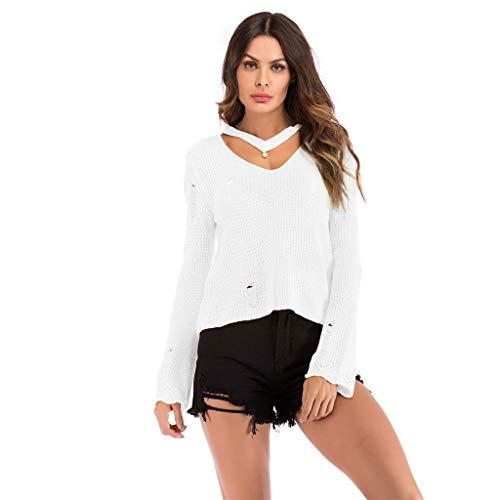 HRSTUVGDER Frauen Mädchen Mode Strickoberteile Solide Langarm Cut V-Ausschnitt Löcher Loose Fit Pullover Casual Bluse Tunika Tops -