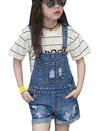 Runyue Mädchen Dungaree-Shorts Denim Kurz Latzhose Jeans Overall Jumpsuit Blau 150CM - Denim Kinder Overalls