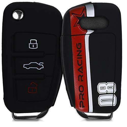 kwmobile Autoschlüssel Hülle für Audi - Silikon Schutzhülle Schlüsselhülle Cover für Audi 3-Tasten Klappschlüssel Rot Weiß Schwarz (Kfz-zubehör Seat Cover-sets)
