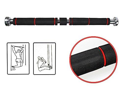 Vetrineinrete® Barra per trazioni da porta regolabile telescopica da 62 a 100 cm allenamento bicipiti dorsali tricipidi addominali fitness carico max 100 kg E7