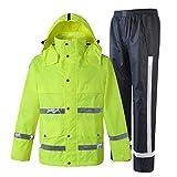 Zyj stores-Sichtweste Reflektierende Regenjacke Verkehrssicherheit Baumwolle Kleidung Männer und Frauen Outdoor Split Fluoreszierende gelbe Reiten Wasserdichte Jacke (Größe : L)