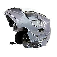 LBAFS Motorcycle Smart Helmet Bluetooth Double Visor Flip-Up Front Helmet Crash Electric Motorbike Open-Face Helmet,Gray-L