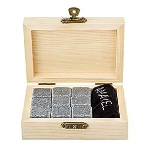 pietre da whisky in elegante scatola in legno standard 9 pietre insapori per raffreddamento. Black Bedroom Furniture Sets. Home Design Ideas