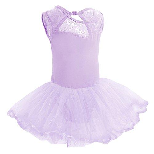 Freebily Mädchen Kleider Ballettkleidung Ballettanzug Ballett Trikot Turnanzug Tanz Leotard Kleider mit Tüll Rock in Gr. 98-164 Lila 128-140 / 8-10 Jahre