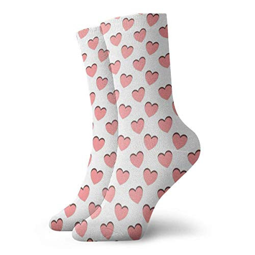 Zhengzho Tanzendes rosa Herz-Muster Socken Atmungsaktive Damen Herren bedruckte Baumwolle Flachstrick Crew Sport Athletic Socken 30cm -