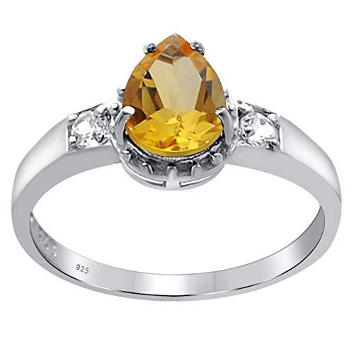 Orchid Jewelry Unisex Damen - Sterling-Silber 925 Sterling-Silber 925 Birne Rund White Yellow Citrin, weißer Topas - Silber 3-ring Größe Aus Sterling