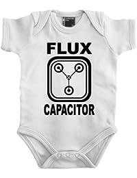 "Touchlines Back to the Future - Body de bebé, diseño con texto ""Flux Capacitor"", blanco - blanco, 74"