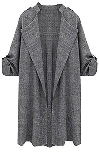 OMUUTR Damen Frauen lange Trenchcoat Mantel Jacken öffnen vordere Guertel Revers Overcoat Wasserfall Cardigan Frühling Herbst Parka Mantel XXXLarge