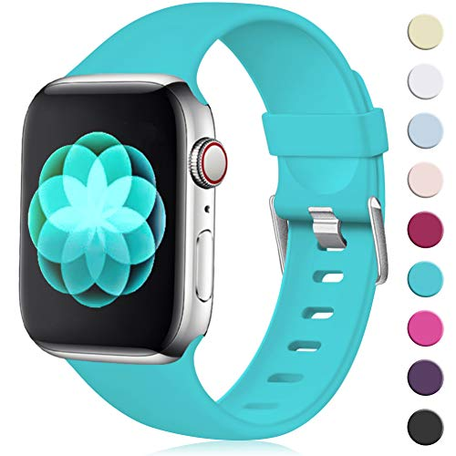 Maledan für Apple Watch Armband 42mm 44mm, Ersatzarmband aus Weiches Silikon Verstellbares Uhrenarmband mit Klassische Schnalle für Apple Watch Series 4/3/2/1 M/L Teal