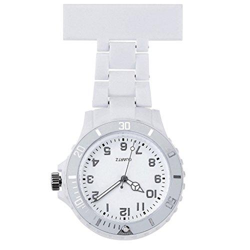 JSDDE Uhren,Schwesternuhr Trend Design Silikon Beschichtung Krankenschwesteruhr Taschenuhr Analog Quarzuhr(Weiss)