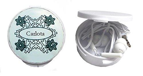 Auriculares in-ear en una caja circular. Conectividad del altavoz: 3.5 mm jack. Dimensiones del producto: 55×58×21 mm Material: plástico Color: blanco