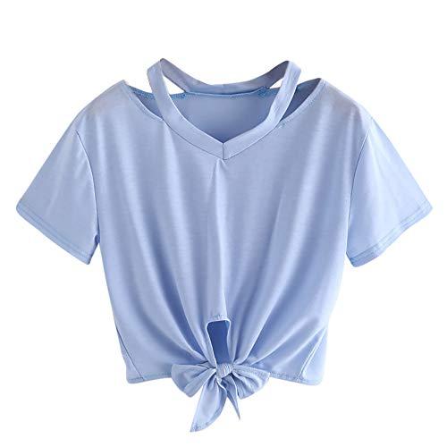 Weant Damen Sommer T-Shirts Riemen Rundhals Tie up Kurzarm Crop Top Saum Streifen Shirt Junges Mädchen Oberteil Bluse (Süße Bh Für Teenager-mädchen)
