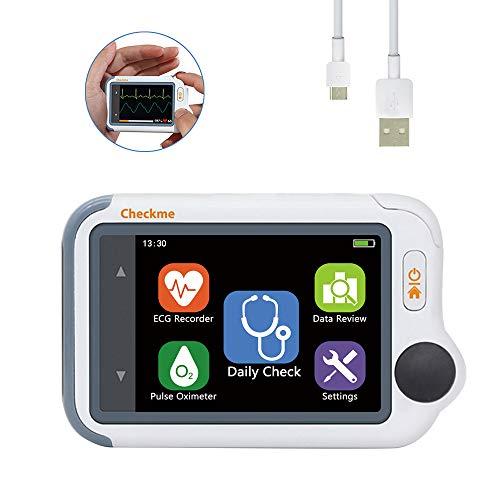 Tragbarer EKG-Monitor mit Sauerstoffsättigung und manschettenlosem Blutdruck - Früherkennung von Arrhythmie/PVC, HD-Farb-Touchscreen - Viatom Checkme Lite Handheld Heart Health Tracker -