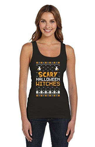 Scary Halloween Witches - Im Ugly X-Mas Style Frauen Tank Top XX-Large Schwarz (Günstige Scary Halloween Kostüme Ideen)