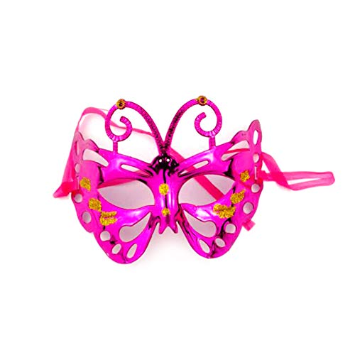 XAOBNIU Halloween Maske Cosplay Requisiten Party Maskerade Kind Erwachsene Schmetterling Half Face Kunststoff Maske (Farbe : Hot pink)