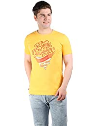 LNDN HOUR Branded New Stylish Front Print Round Neck Cotton Tshirt . Half Sleeves, Latest High Quality Fashion Garments For Men/Boys. Yellow Colour