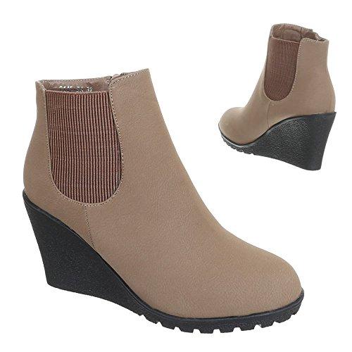 Stiefeletten Halbschaft Damen Schuhe Blockabsatz gefüttert Boots Schwarz Braun Rot 36 37 38 39 40 41 Hellbraun