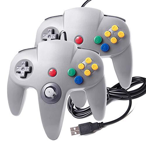 suily USB Controller für N64 Spiele Classic USB Gamepad Joystick mit Kabel für Windows PC Mac Raspberry Pi(2 Pack, Grau) (Controler Pc Für Snes)