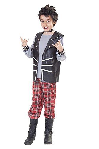 KINDERKOSTÜM - PUNKER - Größe 120-130 cm, USA Amerika 70er 80er Jahre Rebell Jugend Kultur provozierend (Kostüm 80er Jahre Jungen)