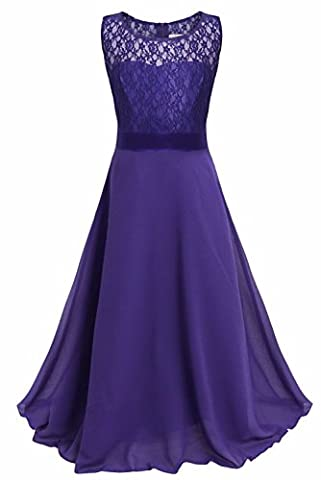 iEFiEL Girls Kids Lace Chiffon Full Length Wedding Party Bridesmaid Pageant Formal Prom Princess Dress Purple 10-11 Years