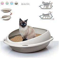 Takestop® Arenero para gatos. Bandeja higiénica 56x 38x 20cm Bordes extraaltos antisuciedad. Color: aleatorio.