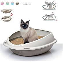 Takestop® Arenero para gatos. Bandeja higiénica 56 x 38 x 20 cm Bordes extraaltos