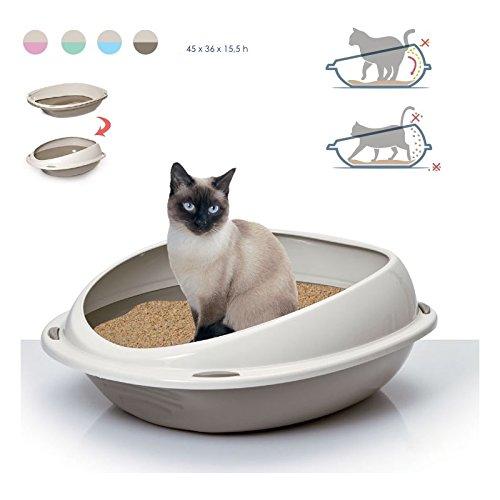 Takestop® Arenero para gatos. Bandeja higiénica 56x 38x 20cm Bordes extraaltos antisuciedad....
