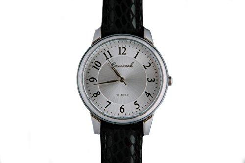 Savannah - Ref: 6003 - Schweizer Design Quarz Damen Uhr mit Ersatzband, Damen Armbanduhr mit blauem Echtleder Band, hochwertig, Geschenkbox, Elegantes Design, Japanisches Qualitäts-Quarzwerk - 36mm