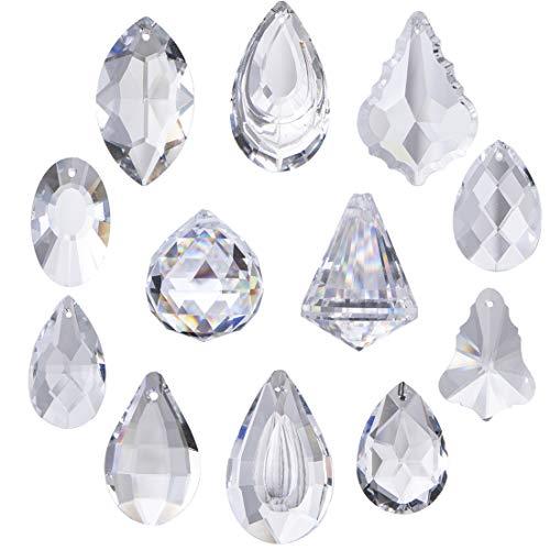 H&D - Juego de 12 colgantes de cristales transparentes para joyería, lámparas de araña, luces colgantes, prismas, partes de prismas, atrapasueños, adornos, para el hogar, oficina, decoración de jardín
