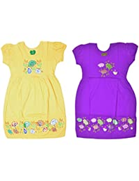 Sathiyas Girl's Cotton Floral Printed Gowns - Pack of 2