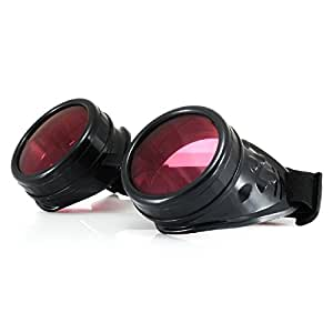 4sold (TM) Cyber Goggles STEAMPUNK Ultra Black Steam Punk Rave Goth like Sunglasses