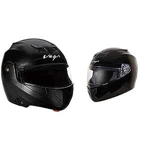 Vega Crux Flip-up Helmet (Black, L) & Edge Full Face Helmet (Black, Large) Combo