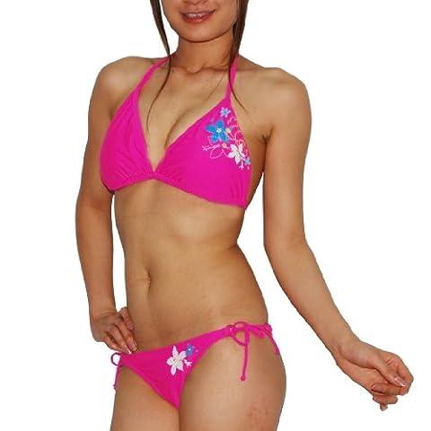 2 pcs set: Womens Surf Style Sexy & So Soft Quick-Dry Bikini Swimsuit Large Pink