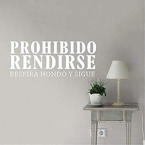 Citas inspiradoras en español Prohibido Rendirse Vinilo Adhesivos de pared Dormitorio Oficina Motivación Palabras Letras Murales 57X23cm